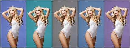 Коллаж красивой и сексуальной девушки в белом нижнем белье над красочной предпосылкой Стоковые Фотографии RF