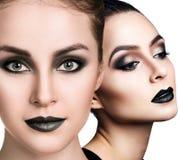 Коллаж красивых сторон ` s женщины с закоптелыми глазами Стоковая Фотография