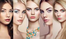 Коллаж красоты Стороны женщин Стоковое фото RF