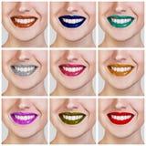 Коллаж красочных женских губ Стоковое Фото