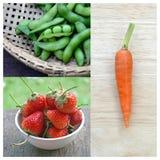 Коллаж клубники, моркови и зеленых горохов принципиальная схема здоровая Стоковое Изображение RF