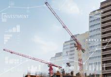 Коллаж места конструкций нового здания Стоковые Изображения RF