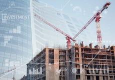 Коллаж места конструкций нового здания Стоковые Изображения