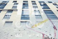 Коллаж места конструкций нового здания Стоковое Фото