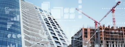 Коллаж места конструкций нового здания Стоковое Изображение