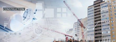 Коллаж места конструкций нового здания Стоковая Фотография