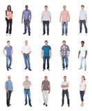 Коллаж многонациональных людей в вскользь стоковое изображение rf
