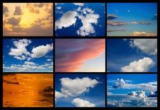 Коллаж много изображений неба с облаками Стоковая Фотография RF