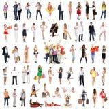 Коллаж много различных людей представляя в одеждах Стоковое фото RF