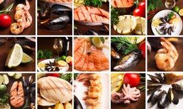 Коллаж морепродуктов Стоковое Изображение