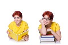 Коллаж молодой студентки на белизне Стоковые Фотографии RF