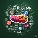 Коллаж музыки и развлечений с значками дальше иллюстрация штока