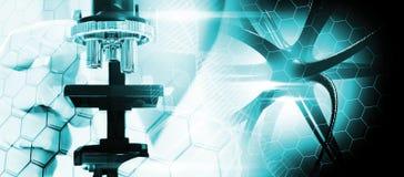 Коллаж на научных ученых тем в microscop Стоковое Фото