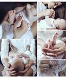 Коллаж нежных фото матери и ее красивого маленького младенца стоковые фотографии rf