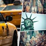 Коллаж новых изображений Jork (США) - путешествуйте предпосылка (мое phot стоковые изображения
