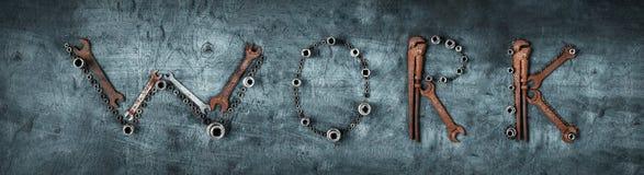 Коллаж от ключей, установленных гаечных ключей - сформулируйте РАБОТУ Стоковая Фотография
