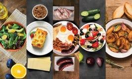 Коллаж от различных изображений вкусной еды Черная и деревянная предпосылка Стоковые Фотографии RF