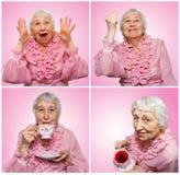 Коллаж от различных эмоций старшей женщины Стоковые Фото