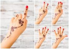 Коллаж от руки женщины при хна подсчитывая номера от одного к Стоковое фото RF