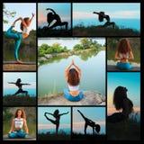 Коллаж от силуэтов йоги молодой женщины практикуя Стоковая Фотография