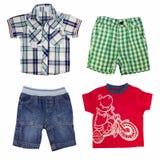 Коллаж одежды мальчика изолированный на белизне. стоковое фото rf