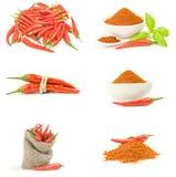 Коллаж перцев красного chili изолированных на белой предпосылке с путем клиппирования Стоковая Фотография