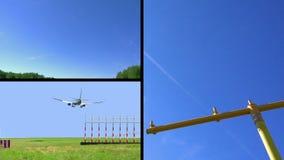 Коллаж посадки самолета акции видеоматериалы