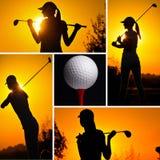 Коллаж принципиальной схемы гольфа Стоковая Фотография RF