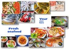 Коллаж продукта моря с блюдами сырых рыб и ресторана стоковые фотографии rf