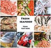 Коллаж продукта моря с блюдами сырых рыб и ресторана стоковое фото rf