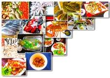 Коллаж продукта моря с блюдами сырых рыб и ресторана стоковая фотография