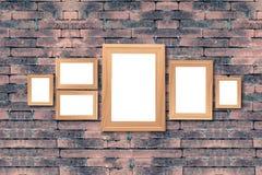 Коллаж пустых коричневых деревянных рамок, насмешка оформления интерьера вверх дальше Стоковое Фото