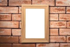 Коллаж пустых коричневых деревянных рамок, насмешка оформления интерьера вверх дальше Стоковая Фотография RF