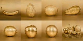 Коллаж плодоовощей с золотой коркой на предпосылке золота Стоковое Изображение