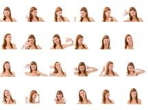 Коллаж различных выражений лица Стоковые Изображения RF