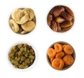 Коллаж различных высушенных плодоовощей Изюминки, даты, высушенные абрикосы Стоковое Фото