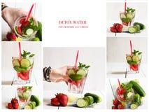 Коллаж различных изображений воды вытрезвителя Яблоко, клубника, огурец, лимон, мята, циннамон Стоковая Фотография