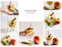 Коллаж различных изображений воды вытрезвителя Яблоко, клубника, огурец, лимон, мята, циннамон Стоковое фото RF