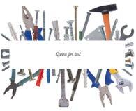 Коллаж различных инструментов конструкции с космосом для текста Стоковые Изображения