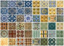 Коллаж различных покрашенных плиток картины в Португалии Стоковое Фото