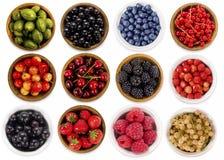 Коллаж различных плодоовощей и ягод изолированных на белизне Стоковая Фотография