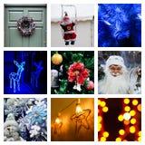 Коллаж рождества и Новогодней ночи стоковое изображение rf