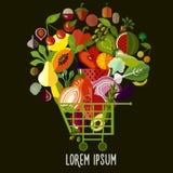 Коллаж свежих овощей Корзина еды с плодоовощами и Иллюстрация штока