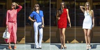 Коллаж 4 сексуальных женщины, мода улицы Стоковое фото RF