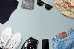 Коллаж собрания одежды человека (взгляд сверху) Стоковые Изображения RF