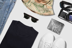 Коллаж собрания одежды человека с взгляд сверху пути клиппирования Стоковое Фото