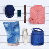 Коллаж собрания одежды людей Стоковое Фото