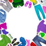 Коллаж собрания различной одежды с местом для надписи Стоковые Фото