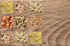 Коллаж состоя из различных зерен риса Стоковое Изображение