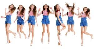 Коллаж - счастливые молодые женщины, изолированные на белизне Стоковое Изображение RF